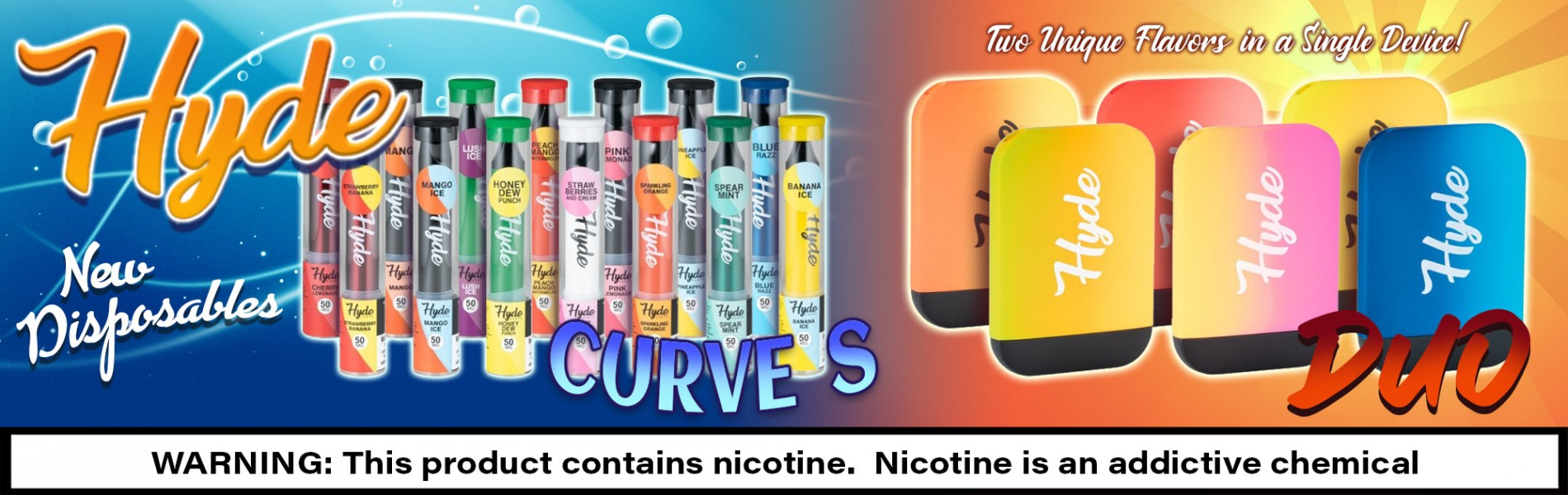 Hyde Curve S and Hyde Duo Disposable Vape Devices