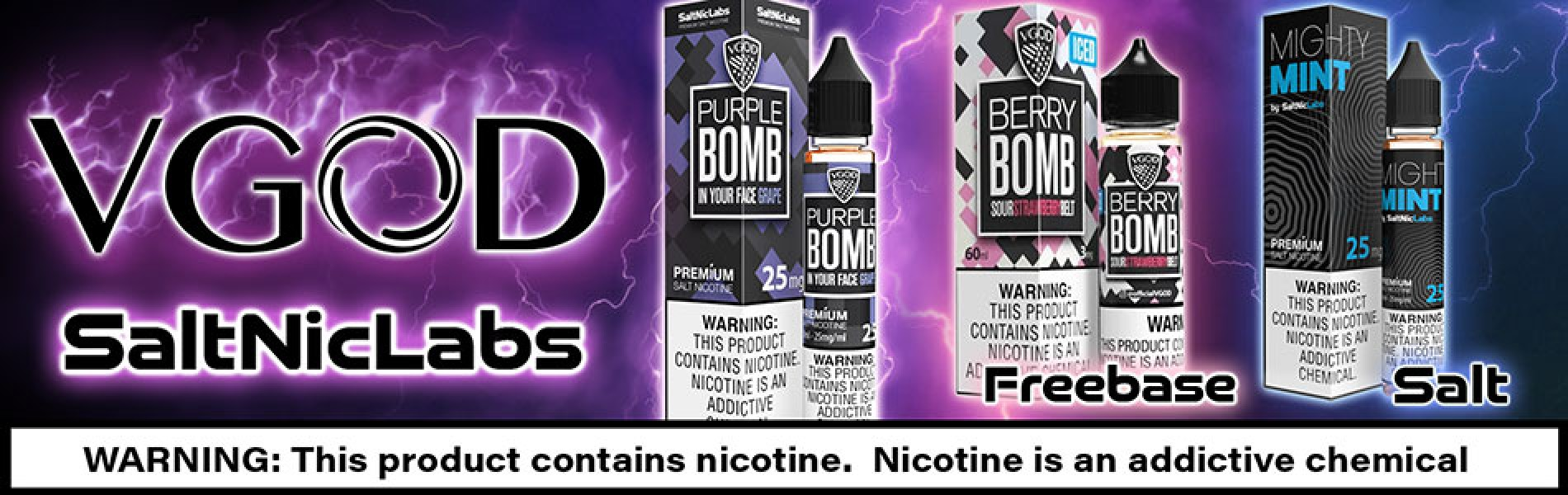 VGod Saltniclabs E-Juice, Freebase and Salt Nic