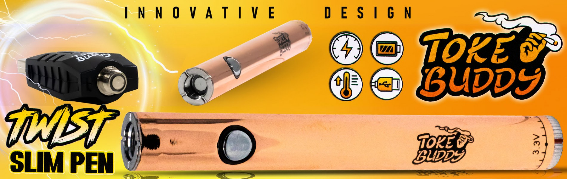 Twist Slim Pen, Innovative Design by Toke Buddy