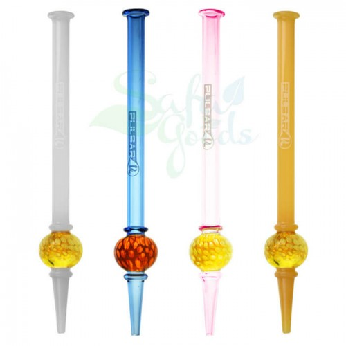 8.5 Inch Pulsar Multing Bubble Dab Straw Various Colors 2pc Bundle