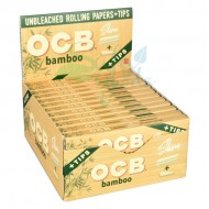 OCB Bamboo Rolling Papers with Tips 24CT Display Box