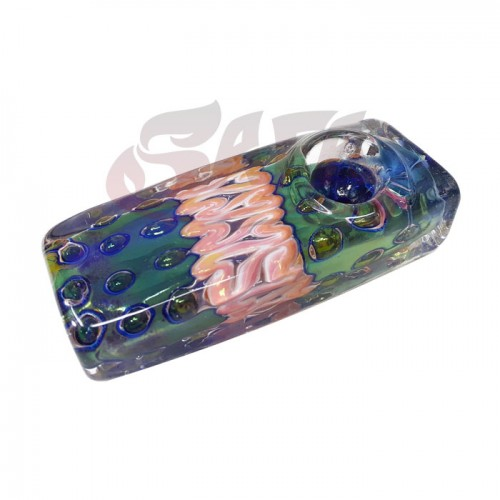 4 Inch Glass Hand Pipes - Square [Fume/Linework]