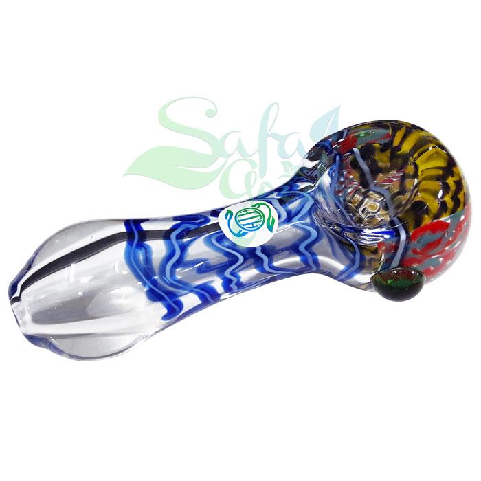 4 Inch Oath Clear Glass w/ cane Handpipe