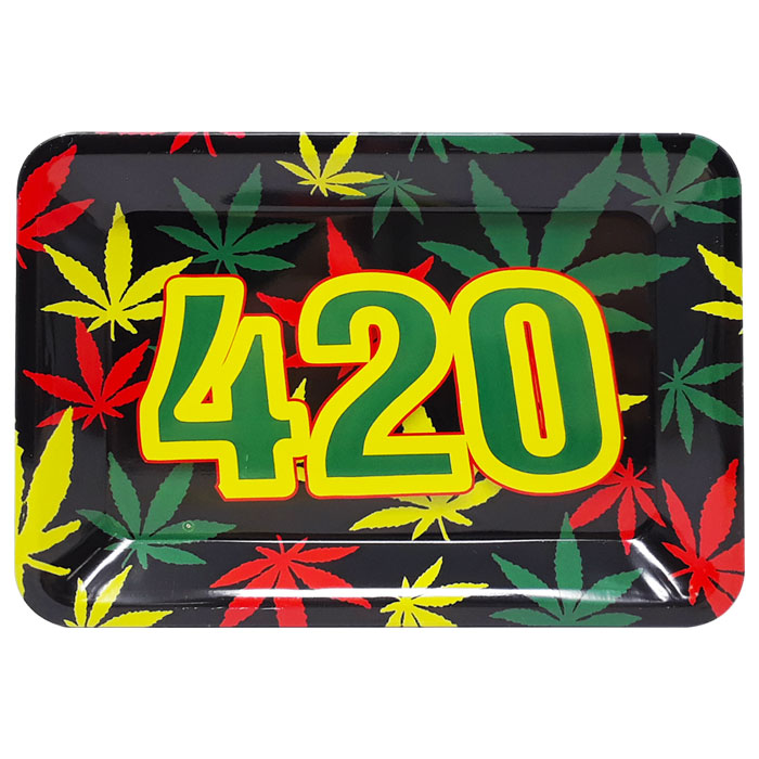 Small Metal Rolling Tray | 420 Logo Various Colors