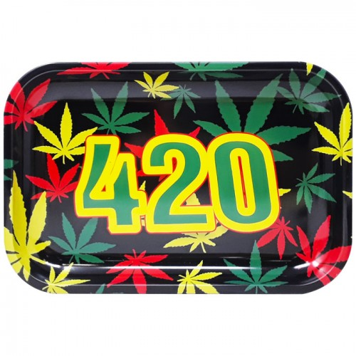 Medium Metal Rolling Tray | 420 Logo Various Colors