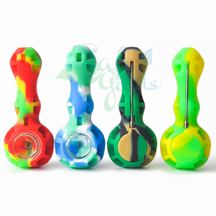 4 Inch Silicone Hand Pipe with Tool/Container