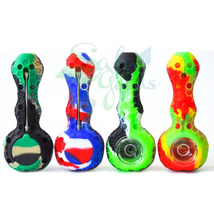 4 Inch Honeycomb Silicone Hand Pipe with Tool/Container