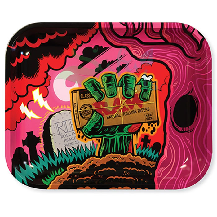 Raw Metal Rolling Tray | Zombie