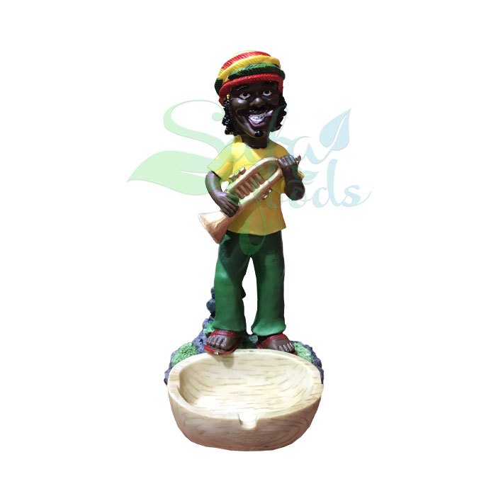 Rasta Sculpture Ashtray - Trumpet Yellow
