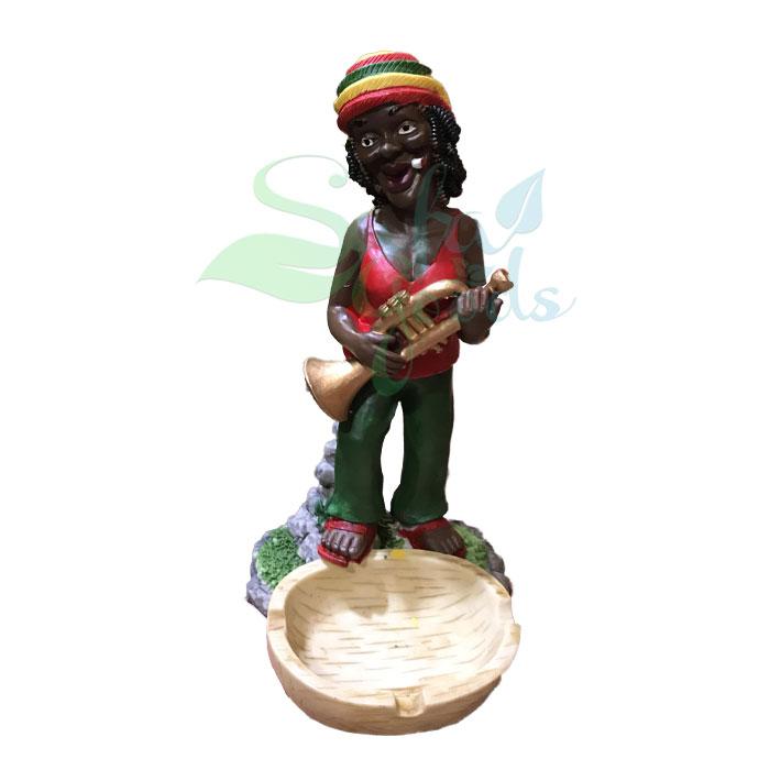 Rasta Sculpture Ashtray - Trumpet Red