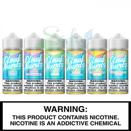 Cloud Nurdz Iced E-Liquids 100mL Freebase Bottles