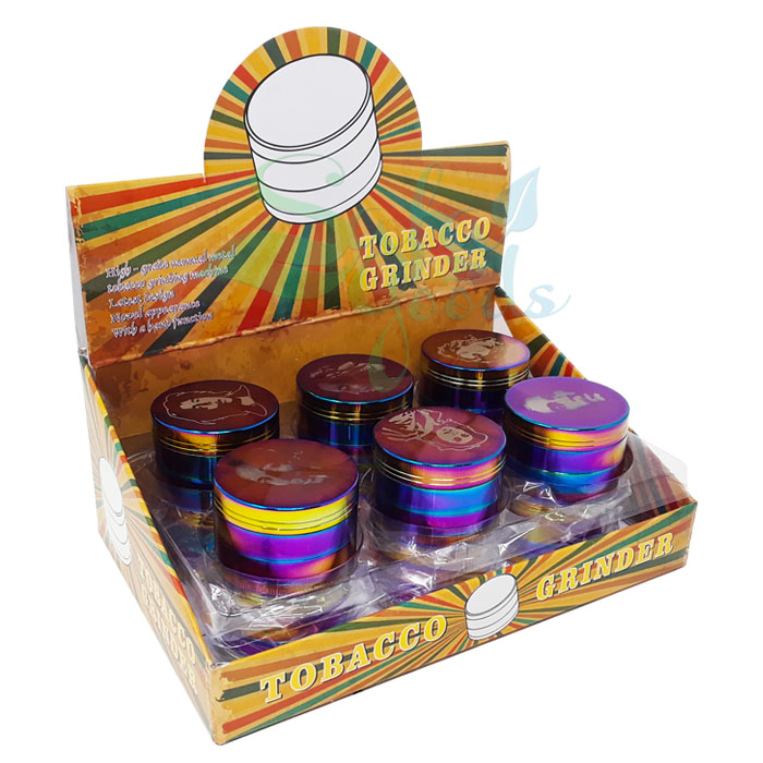 52mm 4PC Rainbow/Bob Marley Herb Grinders Display Box of 12