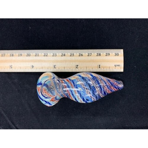 3.5 in. Handpipe Bulb Shape, Silver Fume, Cane Work