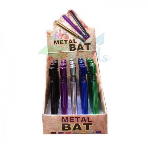Color Metal Cigarette One Hitter w/ Eject 25ct