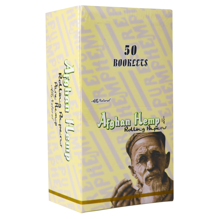 Afghan Hemp Rolling Papers 1.25in.  All natural Hemp 50 booklets
