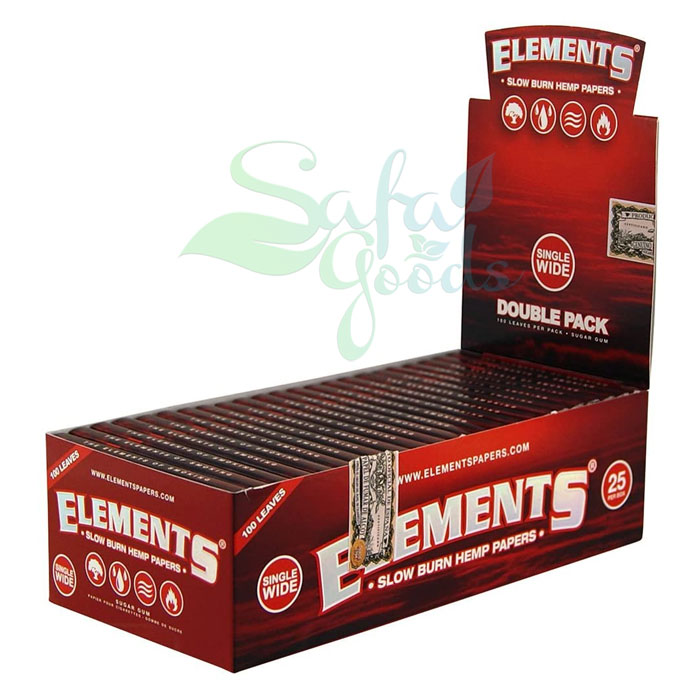 Elements - Red Hemp Rolling Papers - Single Wide DOUBLE PACK