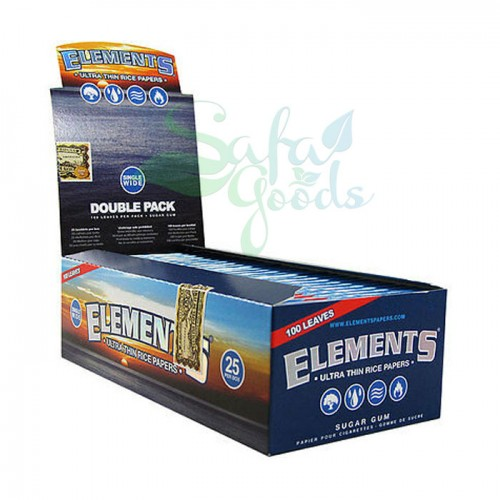 Elements - Ultra Thin Rice Rolling Papers - Single Wide DOUBLE PACK