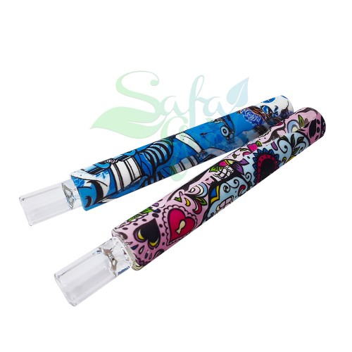 Silicone Chillum to Straw with Print