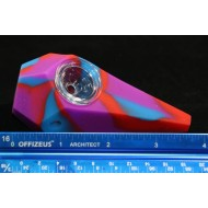 4 in. Gemoetric Polygonal Silicone Handpipe - Various Colors