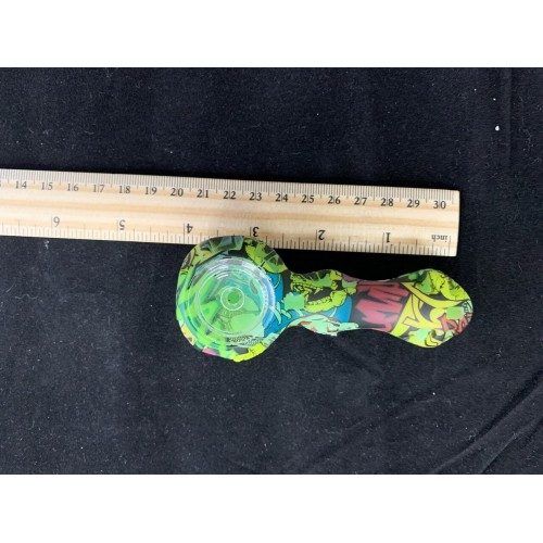4.5 in. Silicone Handpipe with Graphic Designs - Various Colors / Designs