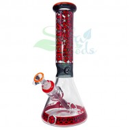 12.5 Inch Tattoo Breaker Ice Catcher Water Pipe Red