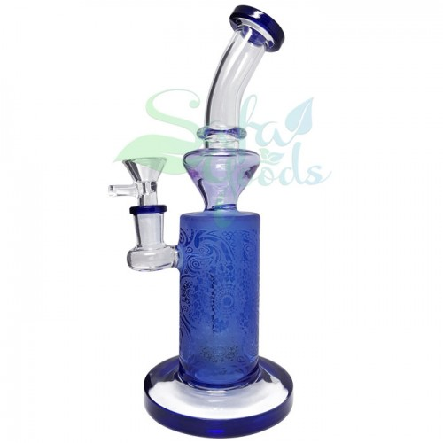 9.5 Inch Banger Hanger Perc Etched Glass Water Pipe