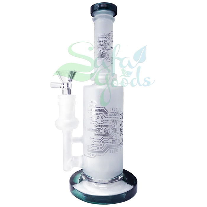 9 Inch Banger Hanger Perc Etched Glass Water Pipe