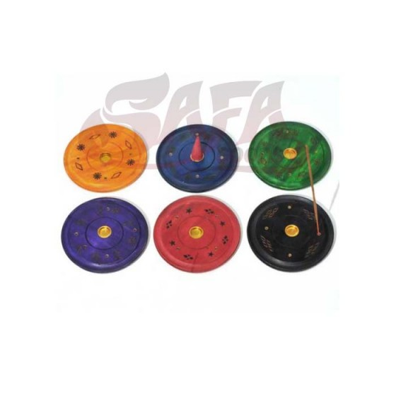 5 Inch Round Incense Plates 6PC
