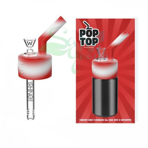 White Rhino POP TOP Silicone/Glass Water Pipes 1pc