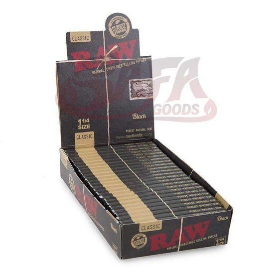 RAW - Classic BLACK Rolling Papers - 1-1/4in