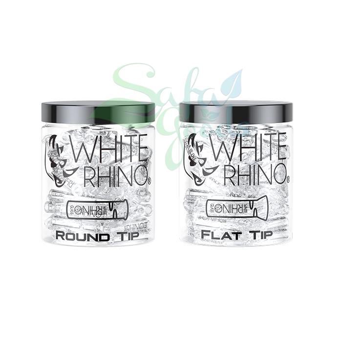 White Rhino Glass Tips 100ct Jars